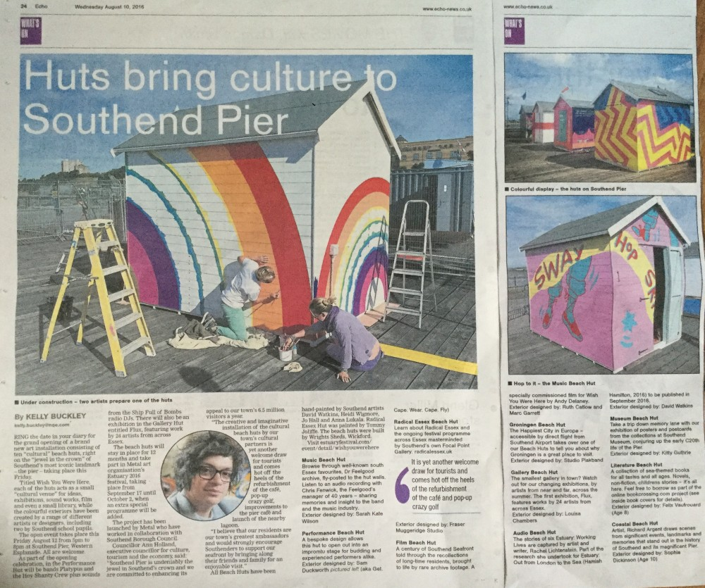 Beach Huts commissioned for Wish You Were Here are taking pride of place on the pier...