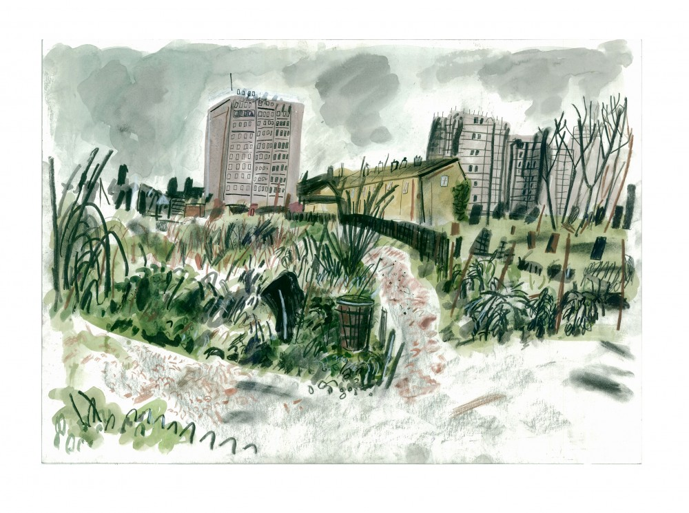 Green Back Yard_42x59_Gouache,  Ink, Charcol on Paper