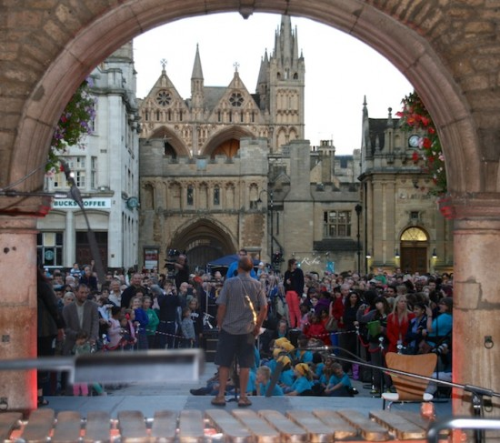 Bumper, the audience and Peterborough Cathedral