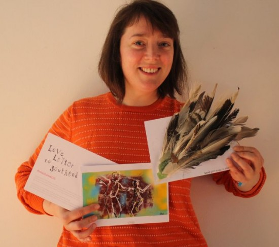 Clare holding a couple of the Love Letter to Southend designs we've received so far...