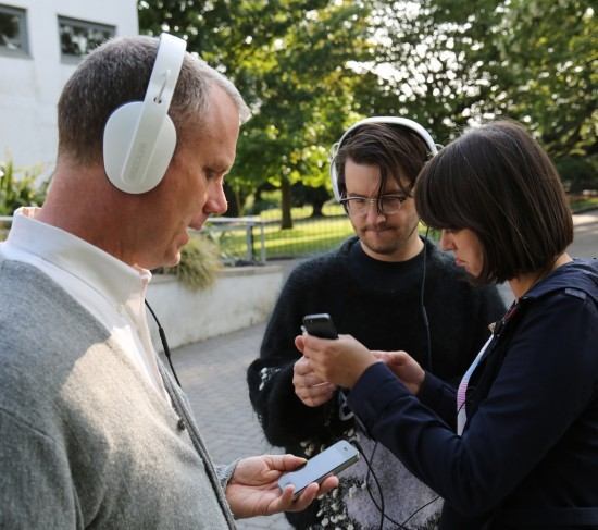 Matmos and Rosie Poebright testing apps in Chalkwell Park.
