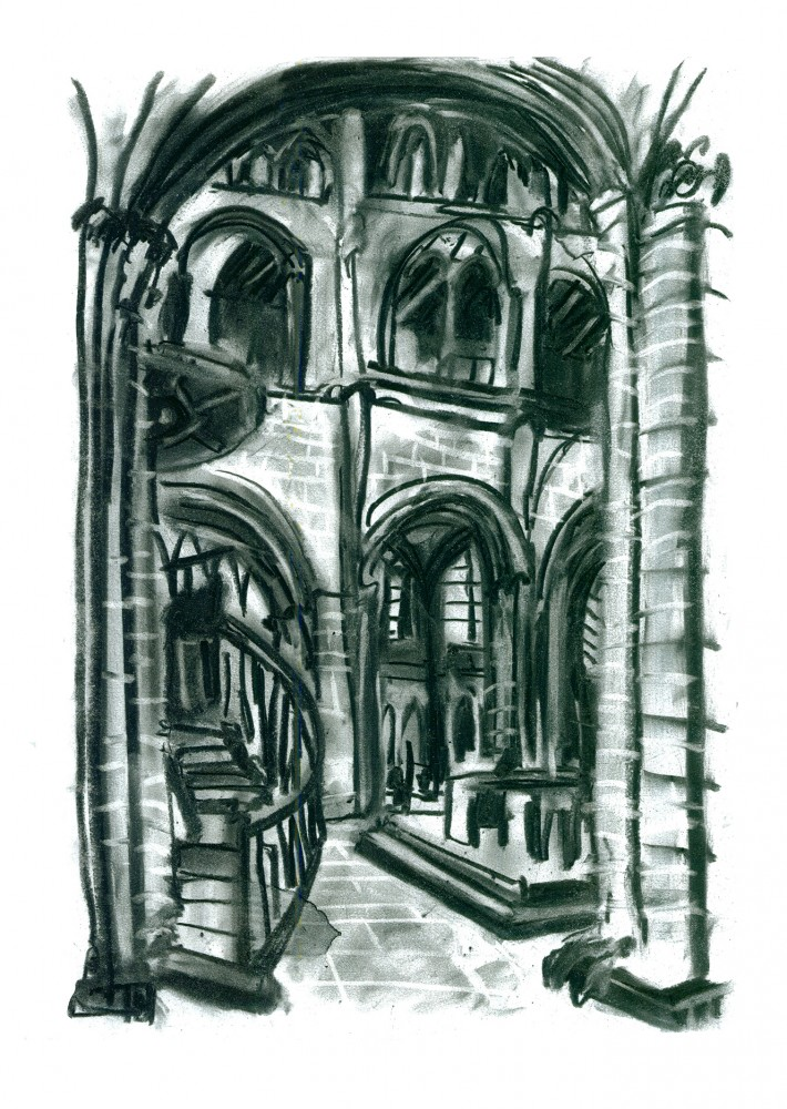 Peterborough Cathederal_30x42_Charcol On Paper