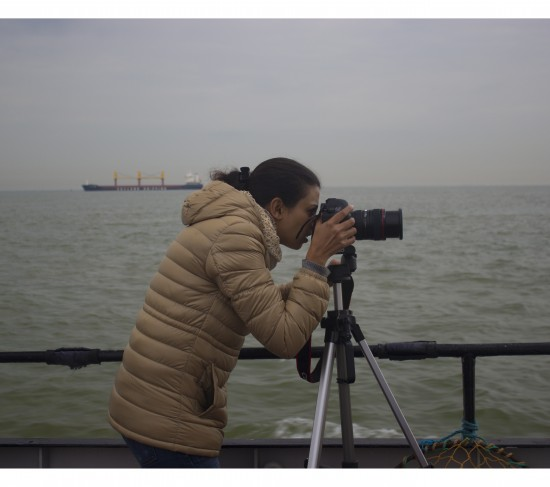 Rohini Devasher out on the estuary as part of her time as artist-in-residence at Metal in Southend