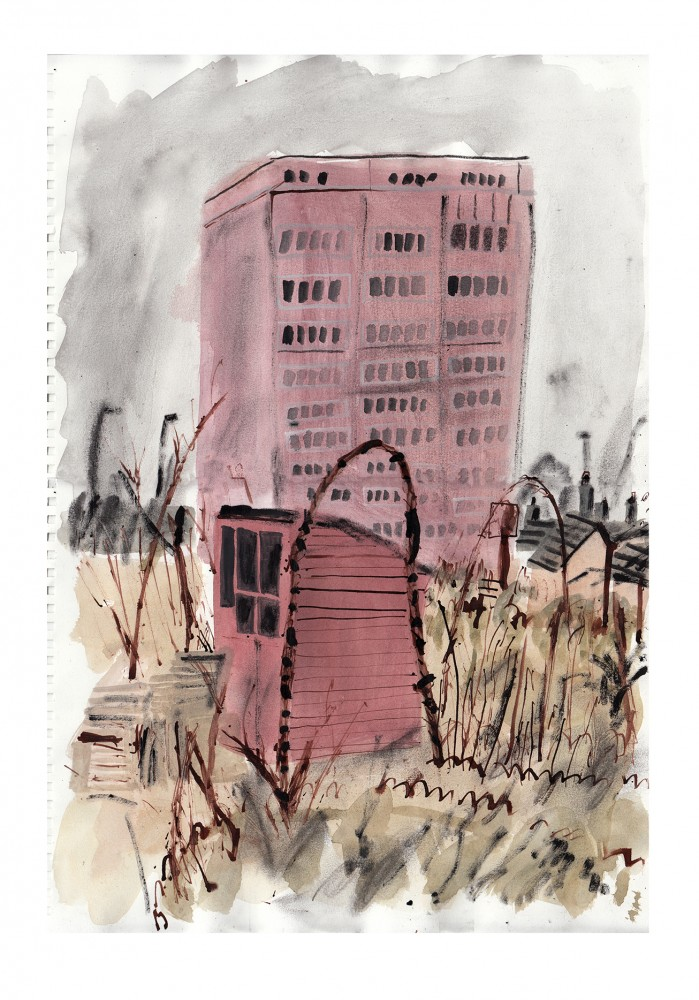 Tower Block Over Green Back Yard_30x42_Gouache, Ink, Charcol on Paper