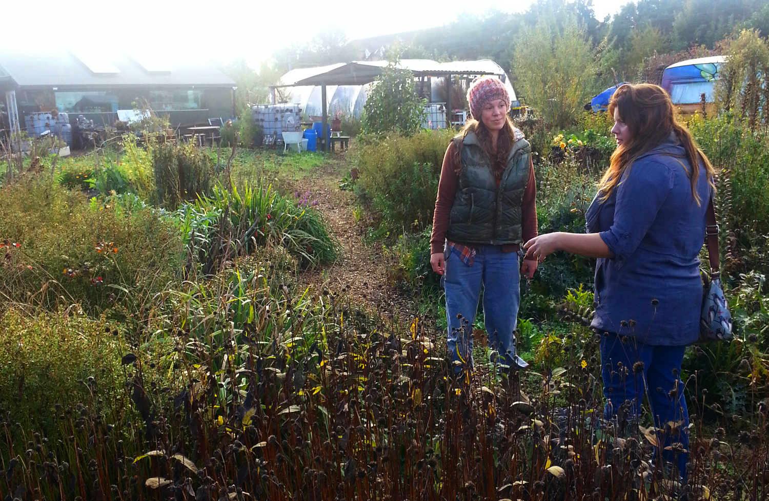Two women talking in an overgrown allotment