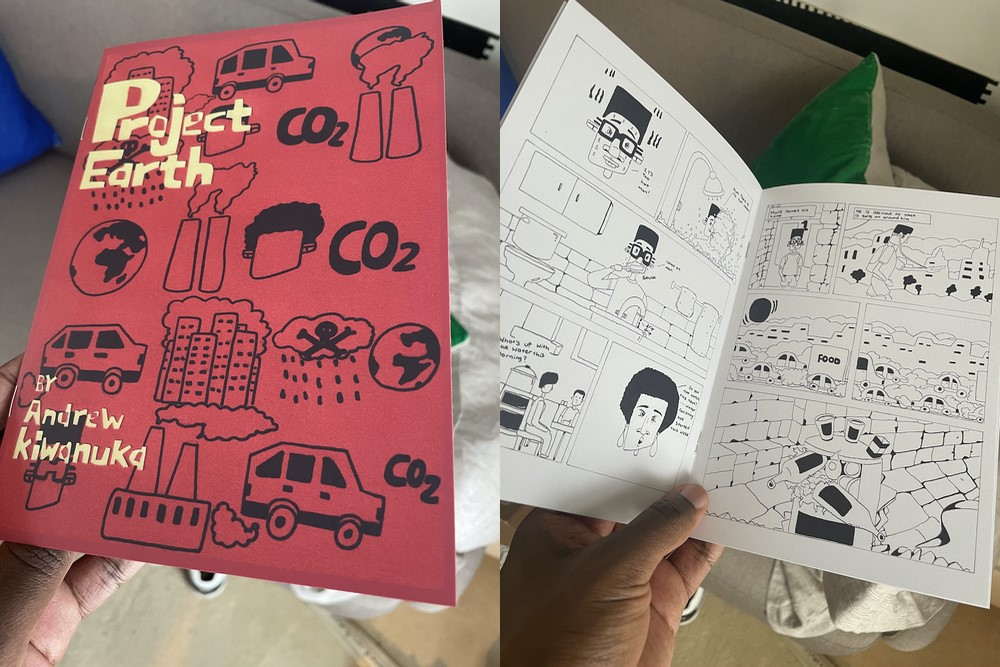 An image of the Project Earth comic by Andrew Kiwanuka. It is red and has black line drawings on the cover with yellow font. The inside shows black and white comic strips